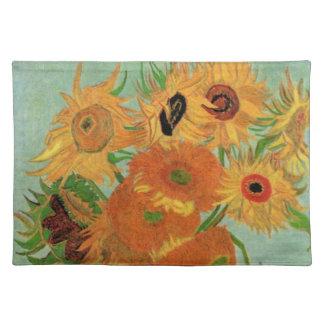 Van Gogh Vase with 12 Sunflowers, Flowers Fine Art Placemat