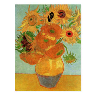 Van Gogh Vase with 12 Sunflowers, Flowers Fine Art Postcard