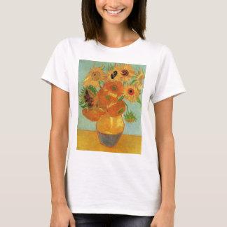 Van Gogh Vase with 12 Sunflowers, Flowers Fine Art T-Shirt