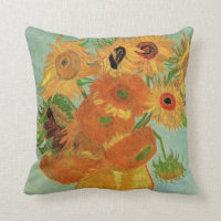 Van Gogh Vase with 12 Sunflowers, Flowers Fine Art Throw Pillow