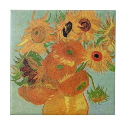 Van Gogh Vase with 12 Sunflowers, Flowers Fine Art Tile
