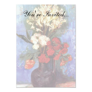 "Van Gogh - Vase With Carnations And Other Flowers 5"" X 7"" Invitation Card"