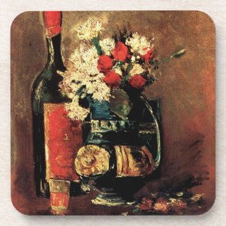 Van Gogh: Vase with Carnations, Roses and a Bottle Beverage Coaster