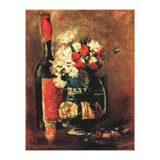 Van Gogh: Vase with Carnations, Roses and a Bottle Canvas Print