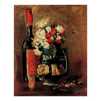 Vincent van Gogh: Vase with Carnations, Roses and a Bottle