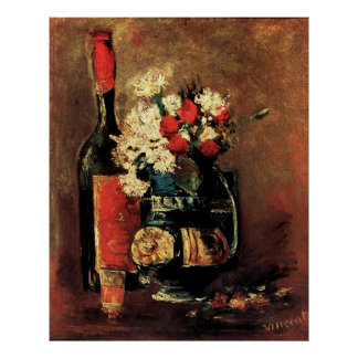 Van Gogh: Vase with Carnations, Roses and a Bottle Posters