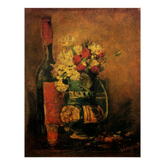 Van Gogh Vase with Carnations Roses and a Bottle Posters