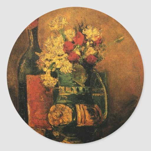 Van Gogh; Vase with Carnations, Roses and a Bottle Round Stickers