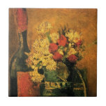 Van Gogh - Vase With Carnations, Roses & Bottle Small Square Tile