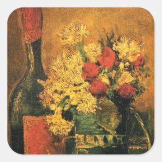 Van Gogh - Vase With Carnations, Roses & Bottle Square Sticker