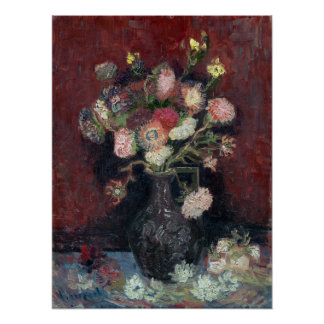 van Gogh Vase with Chinese Asters and Gladioli Poster