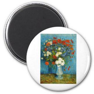 Van Gogh Vase with Cornflowers and Poppies 2 Inch Round Magnet