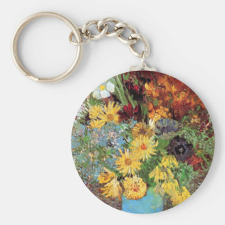 Van Gogh - Vase With Daisies And Anemones Basic Round Button Keychain