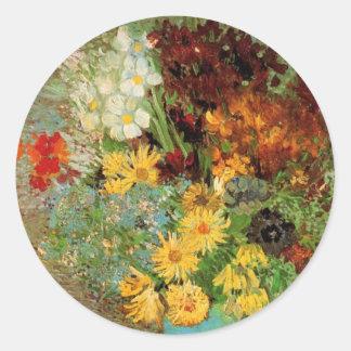 Van Gogh Vase with Daisies and Anemones Fine Art Classic Round Sticker