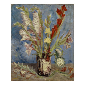 Van Gogh - Vase with gladioli and China asters Poster