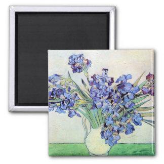 Van Gogh Vase with Irises, Vintage Floral Fine Art 2 Inch Square Magnet