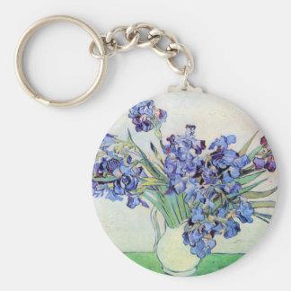Van Gogh Vase with Irises, Vintage Floral Fine Art Basic Round Button Keychain