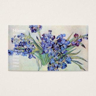 Van Gogh Vase with Irises, Vintage Floral Fine Art Business Card