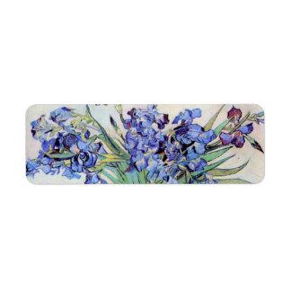 Van Gogh Vase with Irises, Vintage Floral Fine Art Label