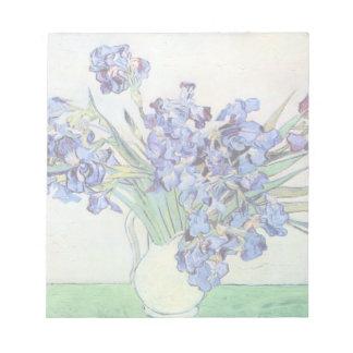 Van Gogh Vase with Irises, Vintage Floral Fine Art Notepad