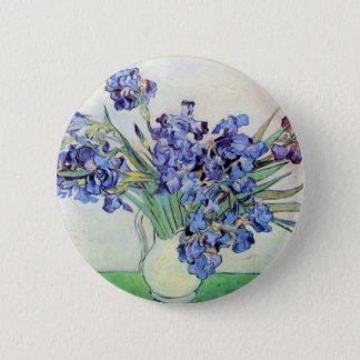 Van Gogh Vase with Irises, Vintage Floral Fine Art Pinback Button