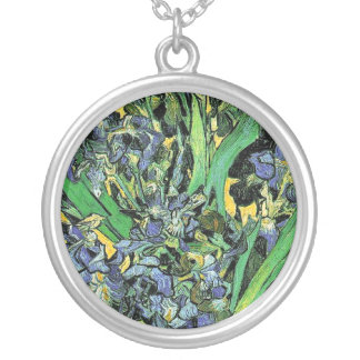 Van Gogh - Vase with Irises Yellow Background Silver Plated Necklace