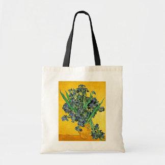 Van Gogh - Vase with Irises Yellow Background Tote Bag