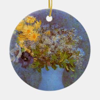 Van Gogh Vase with Lilacs, Daisies and Anemones Ceramic Ornament