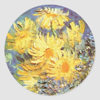 Van Gogh - Vase With Lilacs, Daisies And Anemones Classic Round Sticker