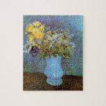 """Van Gogh - Vase With Lilacs, Daisies And Anemones Jigsaw Puzzle<br><div class=""""desc"""">Vincent Van Gogh - Vase With Lilacs, Daisies And Anemones. Oil on canvas from 1887 showing a still life bouquet of flowers including lilacs, daisies and anemones in a turqoise vase against a blue, violet and green background. Unlike similar stores, Art Lover&#39;s Cafe features classic, high resolution works of art...</div>"""