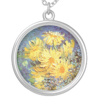 Van Gogh - Vase With Lilacs, Daisies And Anemones Silver Plated Necklace