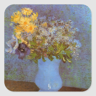 Van Gogh Vase with Lilacs, Daisies and Anemones Square Sticker