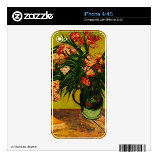 Van Gogh Vase With Oleanders And Books Floral Art Decals For iPhone 4S