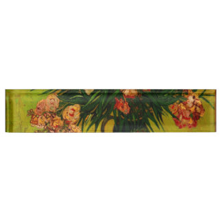 Van Gogh Vase With Oleanders And Books Floral Art Nameplate