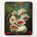 Van Gogh Vase with Peonies, Vintage Floral Flowers Mouse Pads