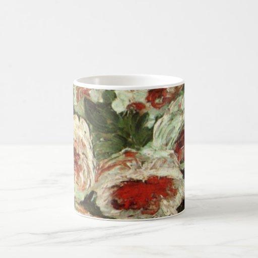 Van Gogh Vase with Peonies, Vintage Floral Flowers Classic White Coffee Mug