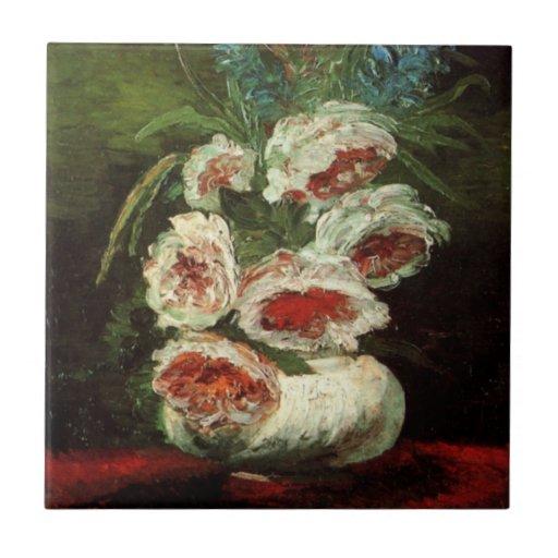 Van Gogh Vase with Peonies, Vintage Floral Flowers Tile