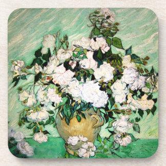 Van Gogh Vase with Pink Roses Coasters