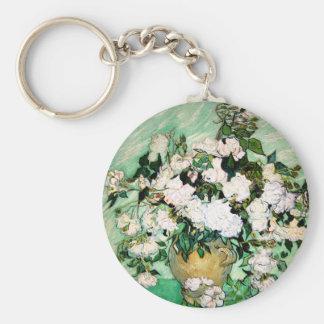 Van Gogh Vase with Pink Roses Key Chain