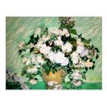 Van Gogh Vase with Pink Roses Postcard