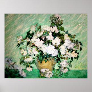 Van Gogh Vase with Pink Roses Poster