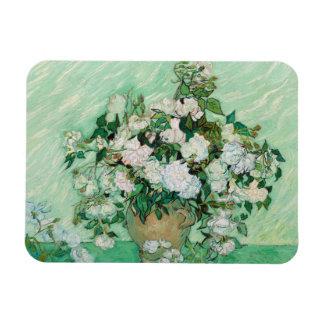 Van Gogh Vase with Pink Roses Vintage Floral Art Magnet