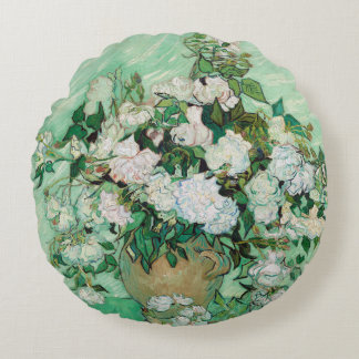 Van Gogh Vase with Pink Roses Vintage Floral Art Round Pillow