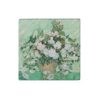 Van Gogh Vase with Pink Roses Vintage Floral Art Stone Magnet