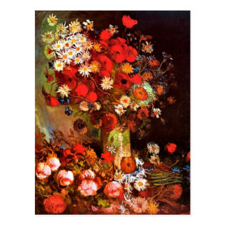 Van Gogh - Vase with Poppies, Cornflowers, Peonies Postcard