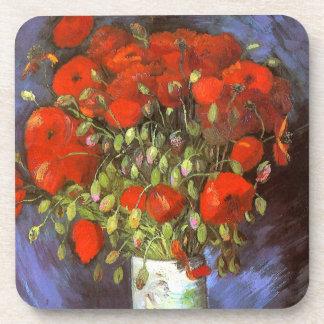 Van Gogh: Vase with Red Poppies Beverage Coaster