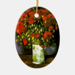 Van Gogh Vase With Red Poppies (F279) Double-Sided Oval Ceramic Christmas Ornament