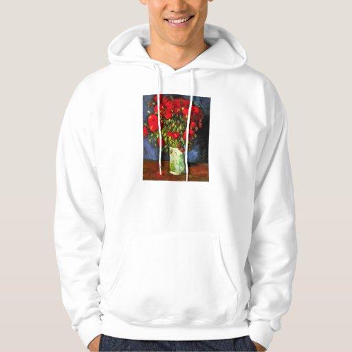 Van Gogh Vase With Red Poppies Hoodies