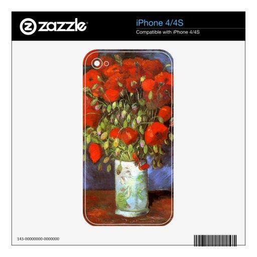 Van Gogh: Vase with Red Poppies iPhone 4S Decals