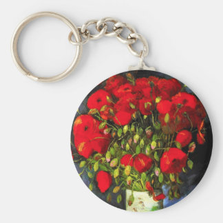 Van Gogh Vase With Red Poppies Key Chain